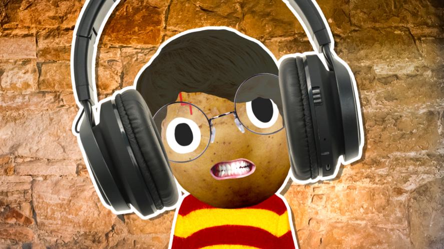 Harry wearing big headphones