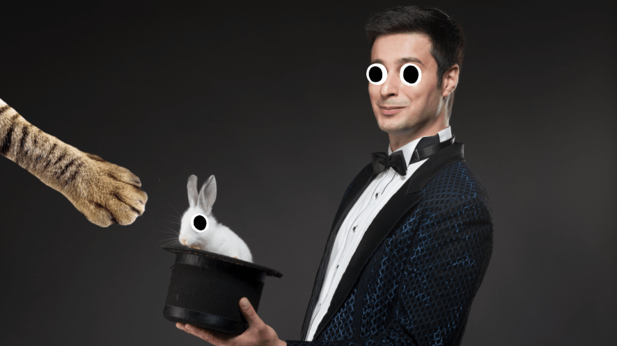 A magician with a rabbit in his hat