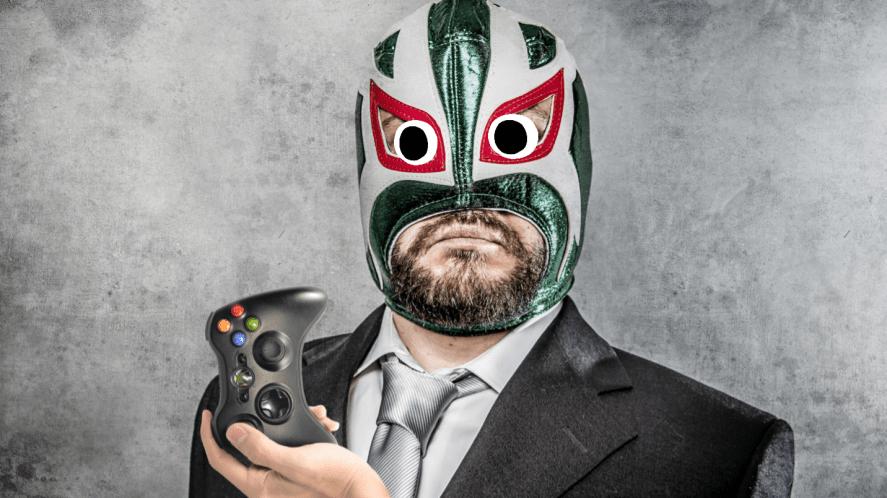A wrestler holding an Xbox controller