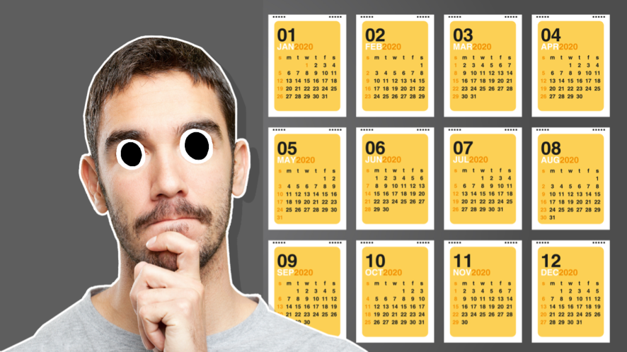 A man in front of a calendar