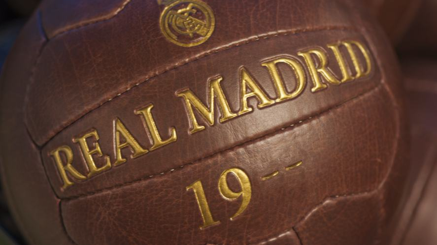 An old Real Madrid leather football with gold writing