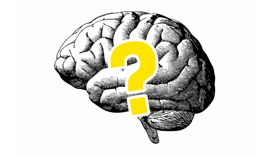 Drawing of brain with question mark