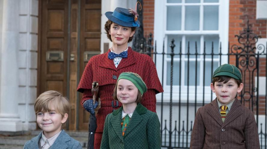A scene from Mary Poppins Returns featuring Mary Poppins and the Banks children