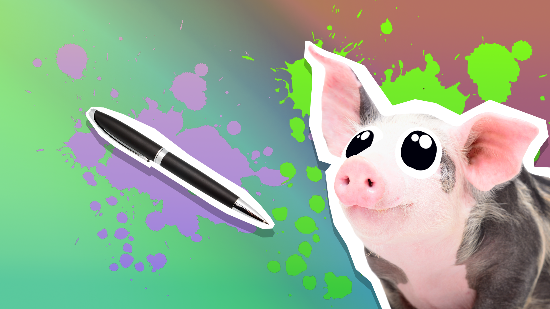 A smiling pig and a black ballpoint pen