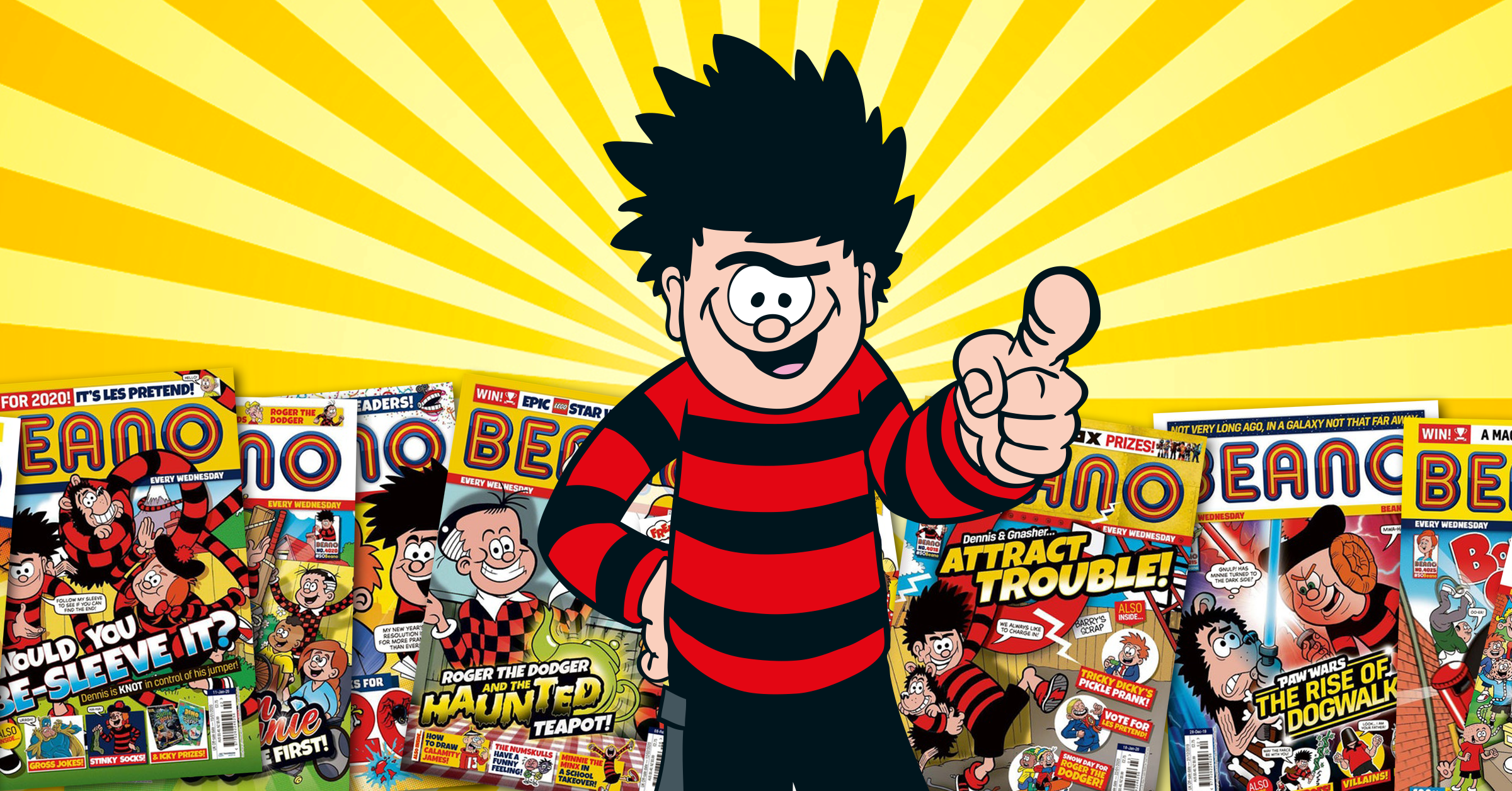 Dennis pointing his finger with copies of Beano in the background