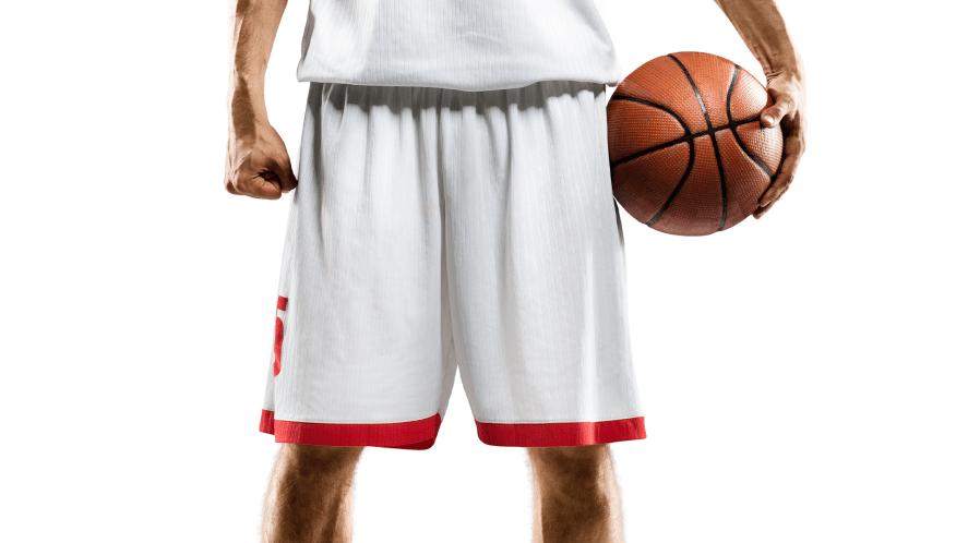 Man in basketball shorts