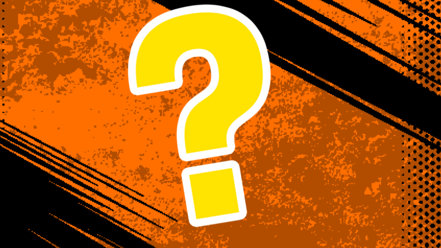 Black and orange background with question mark