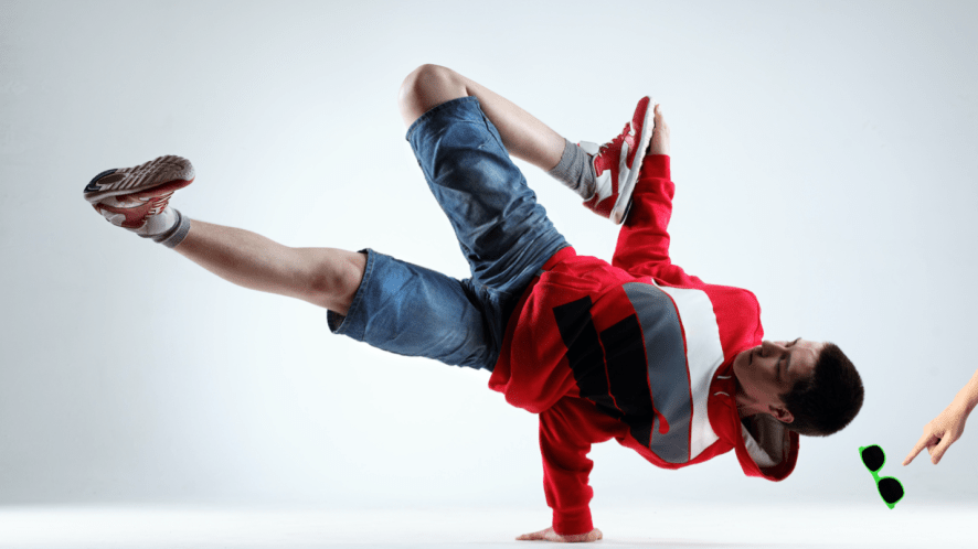 A cool breakdancer whose sunglasses fell off