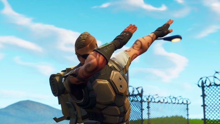 A Fornite character doing the Dab