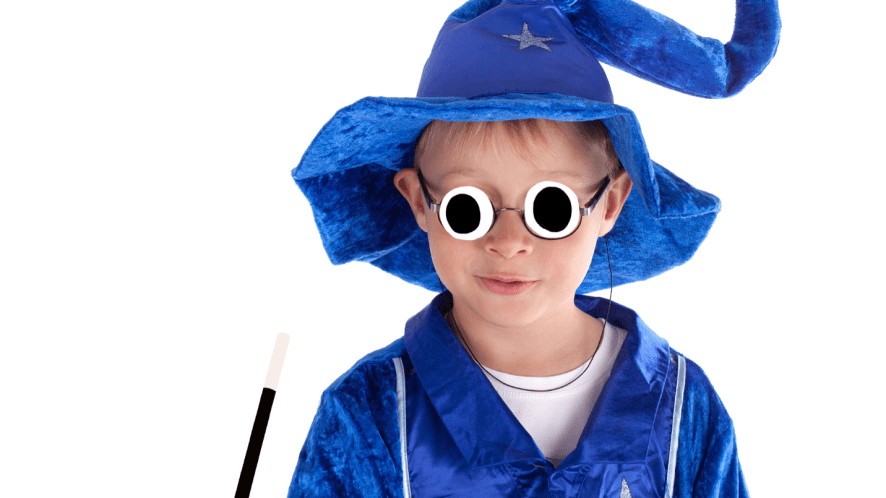 Boy dressed as wizard