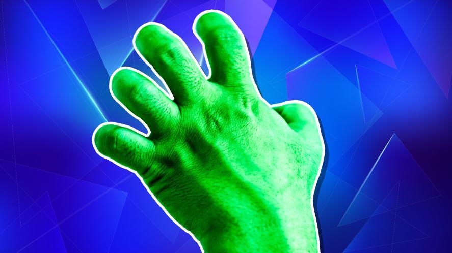 A green Hulk hand