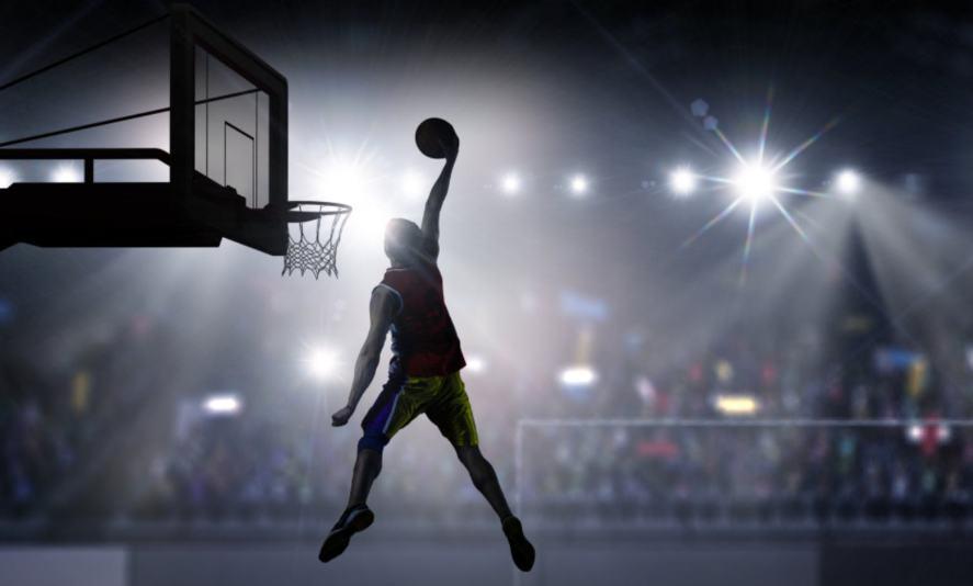 Basketball player doing a slam dunk