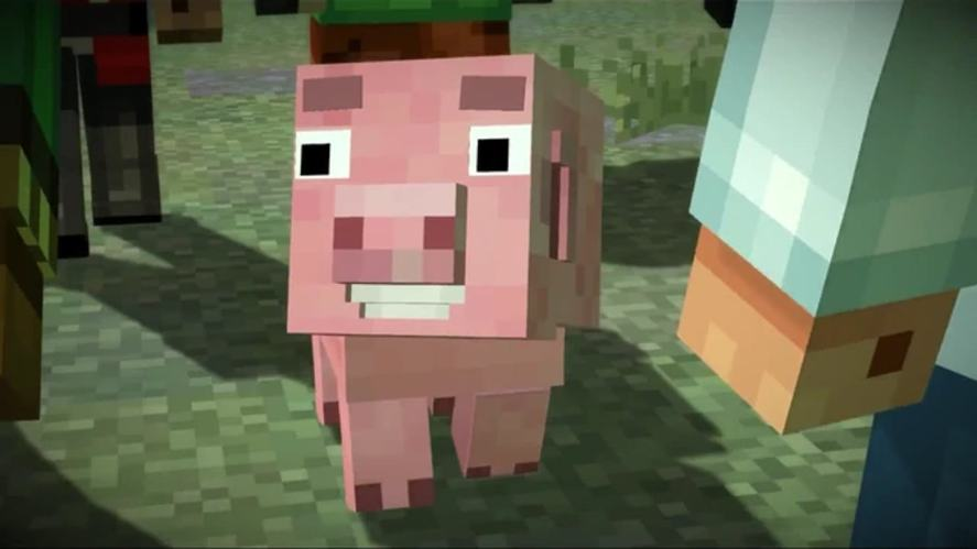 A Minecraft pig character