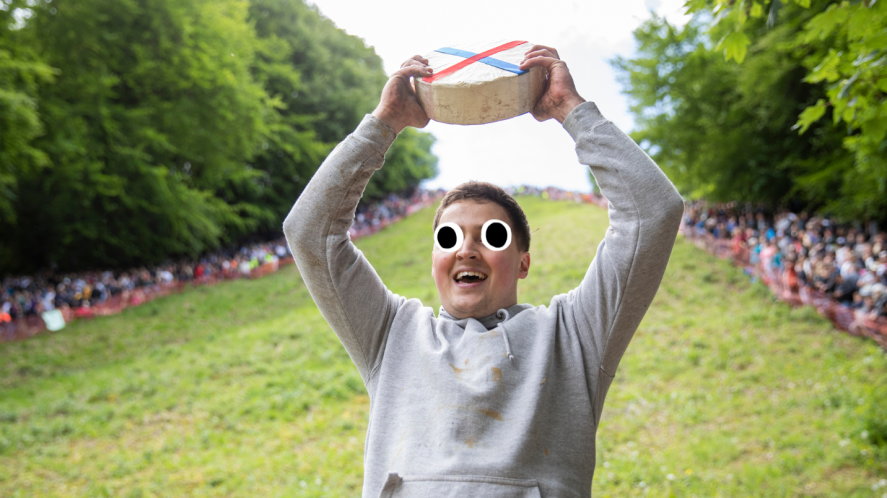 Man holding a cheese