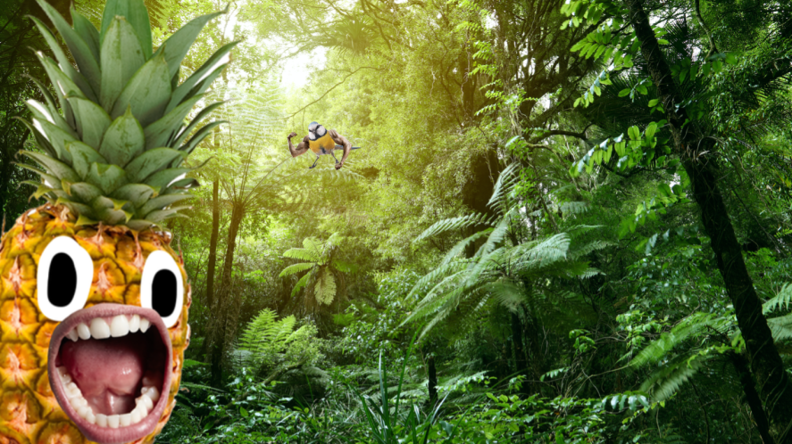 The jungle featuring a screaming pineapple and a muscular bird