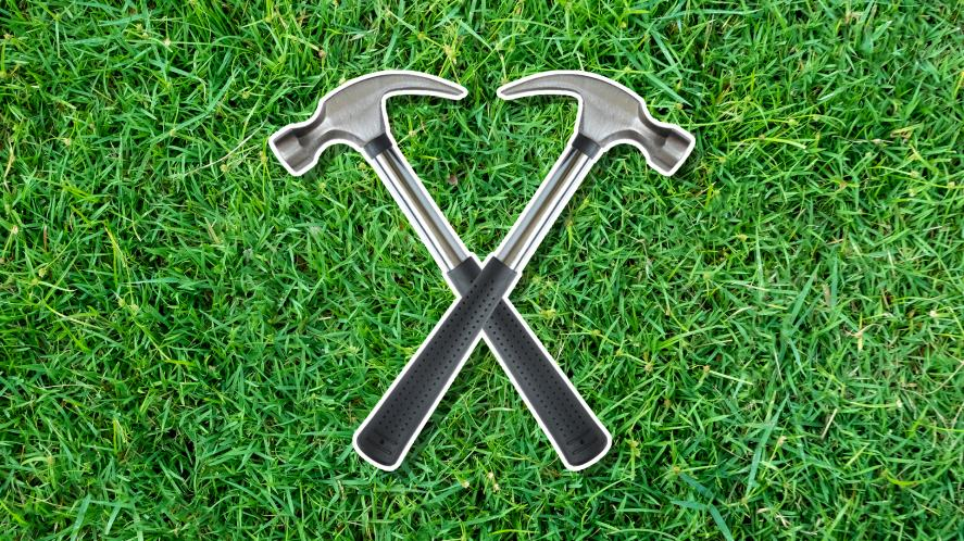 Two crossed hammers