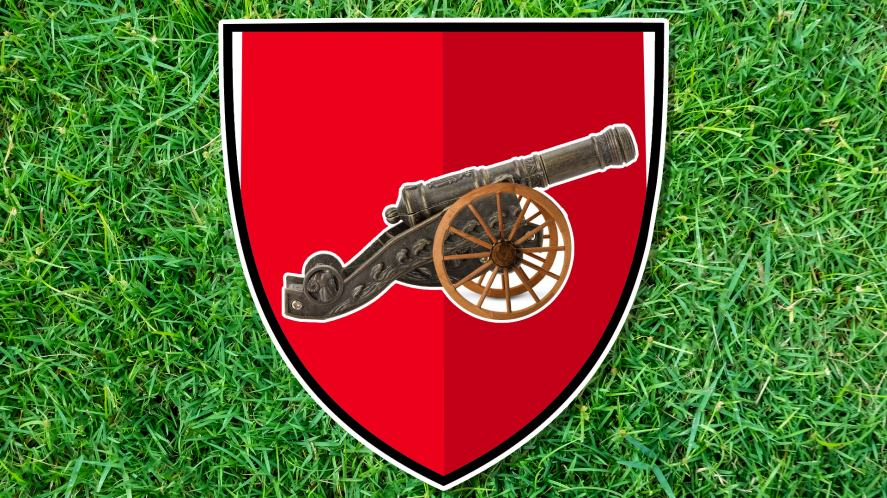 A cannon on a red background