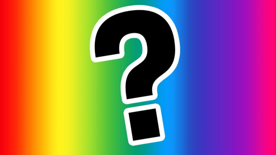Question mark on rainbow background