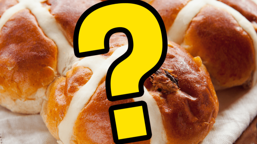 Hot cross buns with question mark