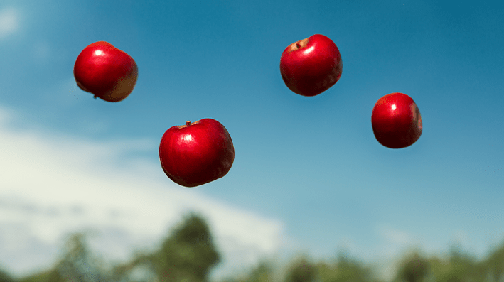 Apples in the air