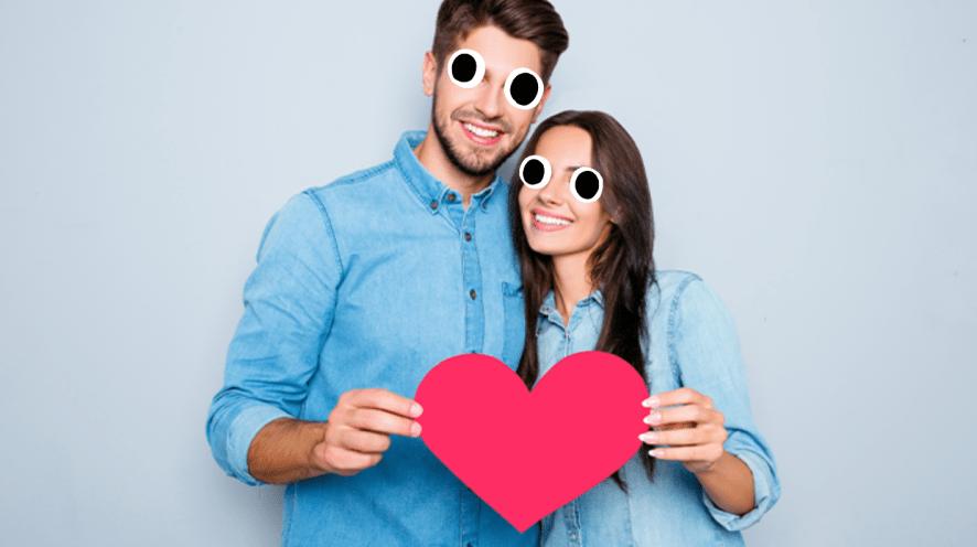 Couple holding heart