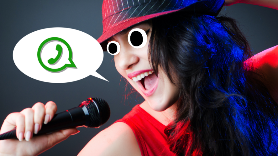 A woman singing the WhatsApp logo, somehow