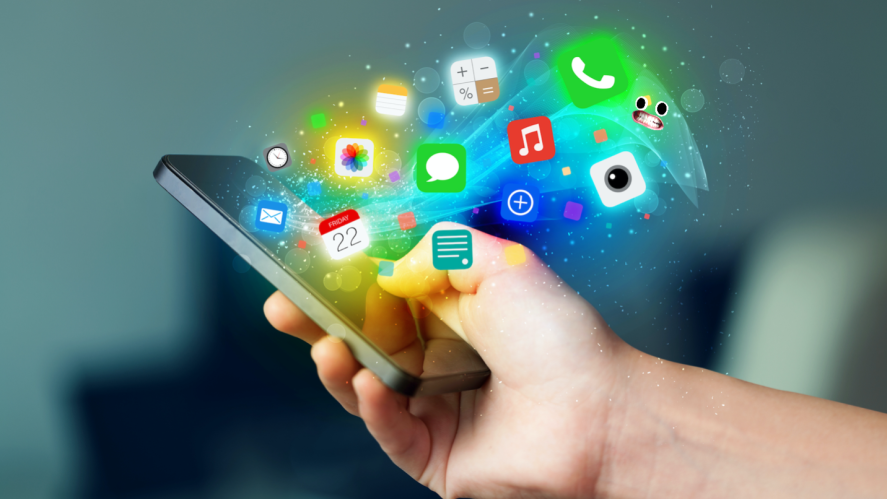 Lots of apps bursting out of a smartphone
