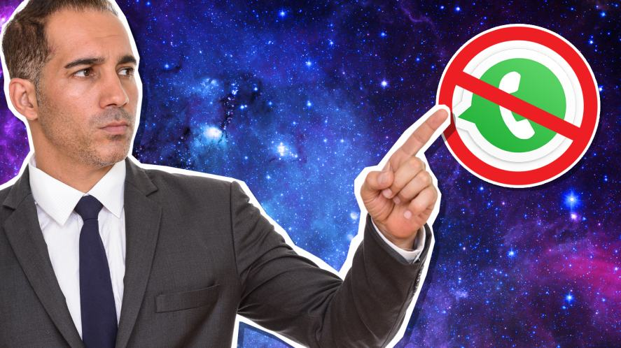 Man in suit pointing at a 'No WhatsApp' sign