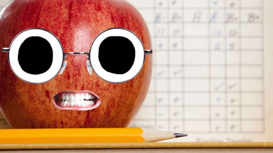 School report and a big angry apple