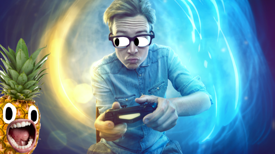 A man playing video games
