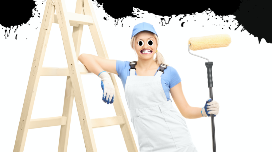A painter and decorator with black walls