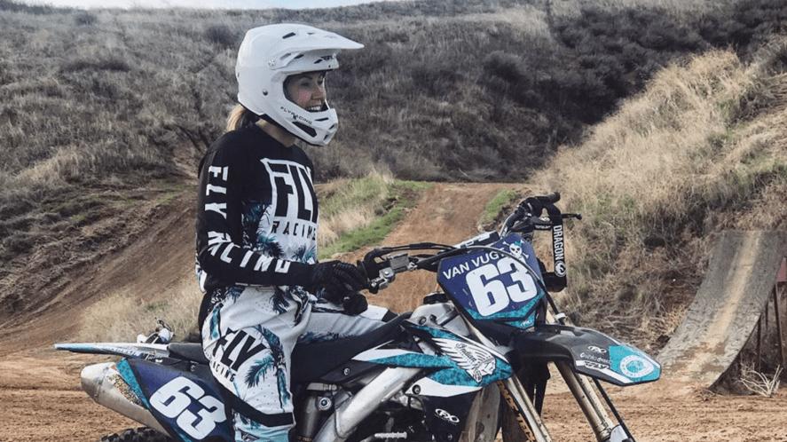 Jolene Van Vugt on her motorbike
