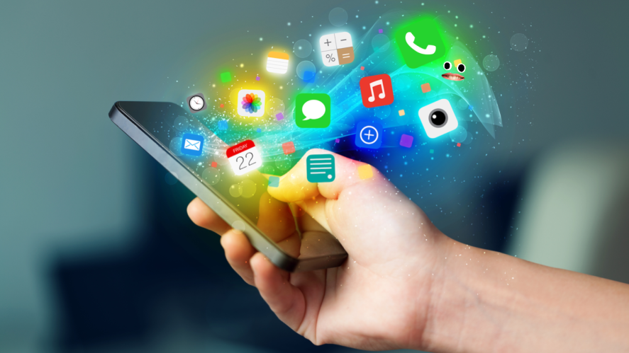 Apps bursting out of a smartphone