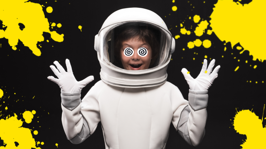 A child wearing a spacesuit