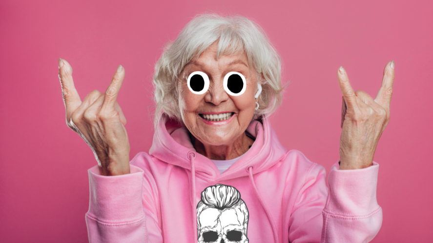 A grandmother rocking out