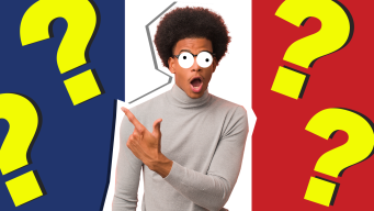 Man in front of French flag