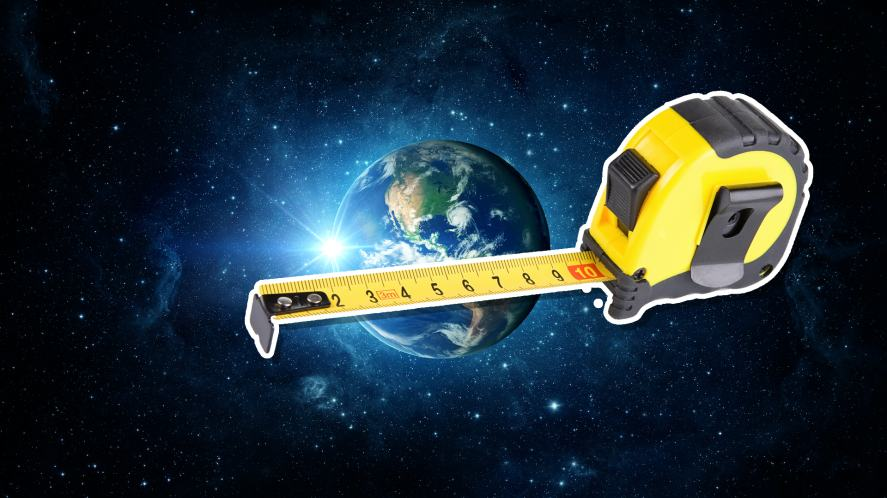 Earth being measured with a measuring tape