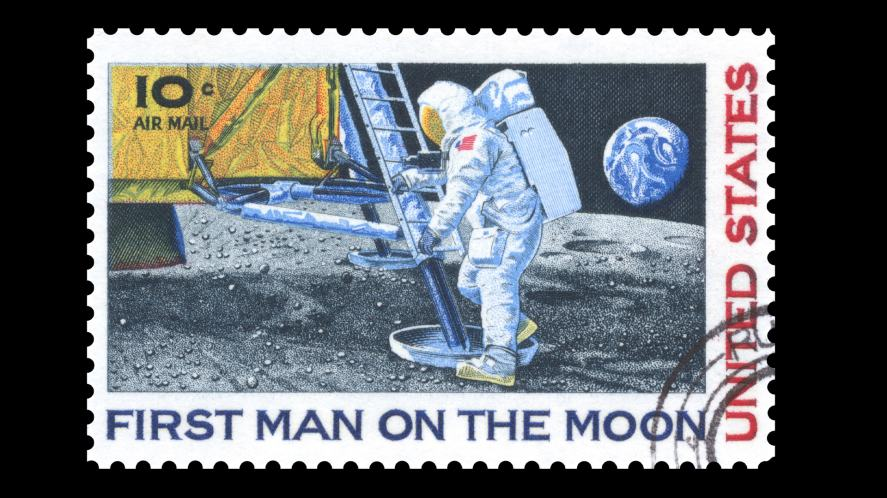 A stamp depicting an American astronaut on the moon