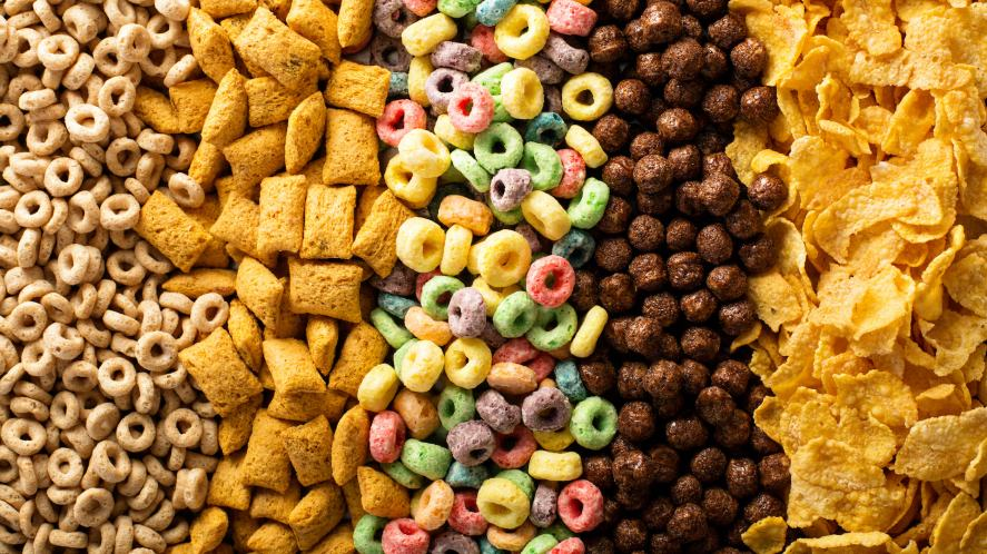 A selection of breakfast cereal
