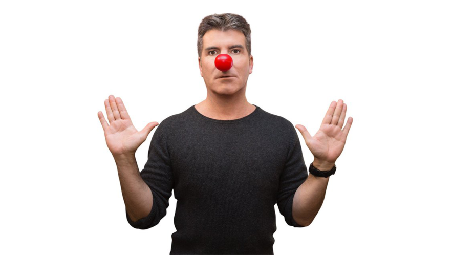 Simon Cowell with a red nose