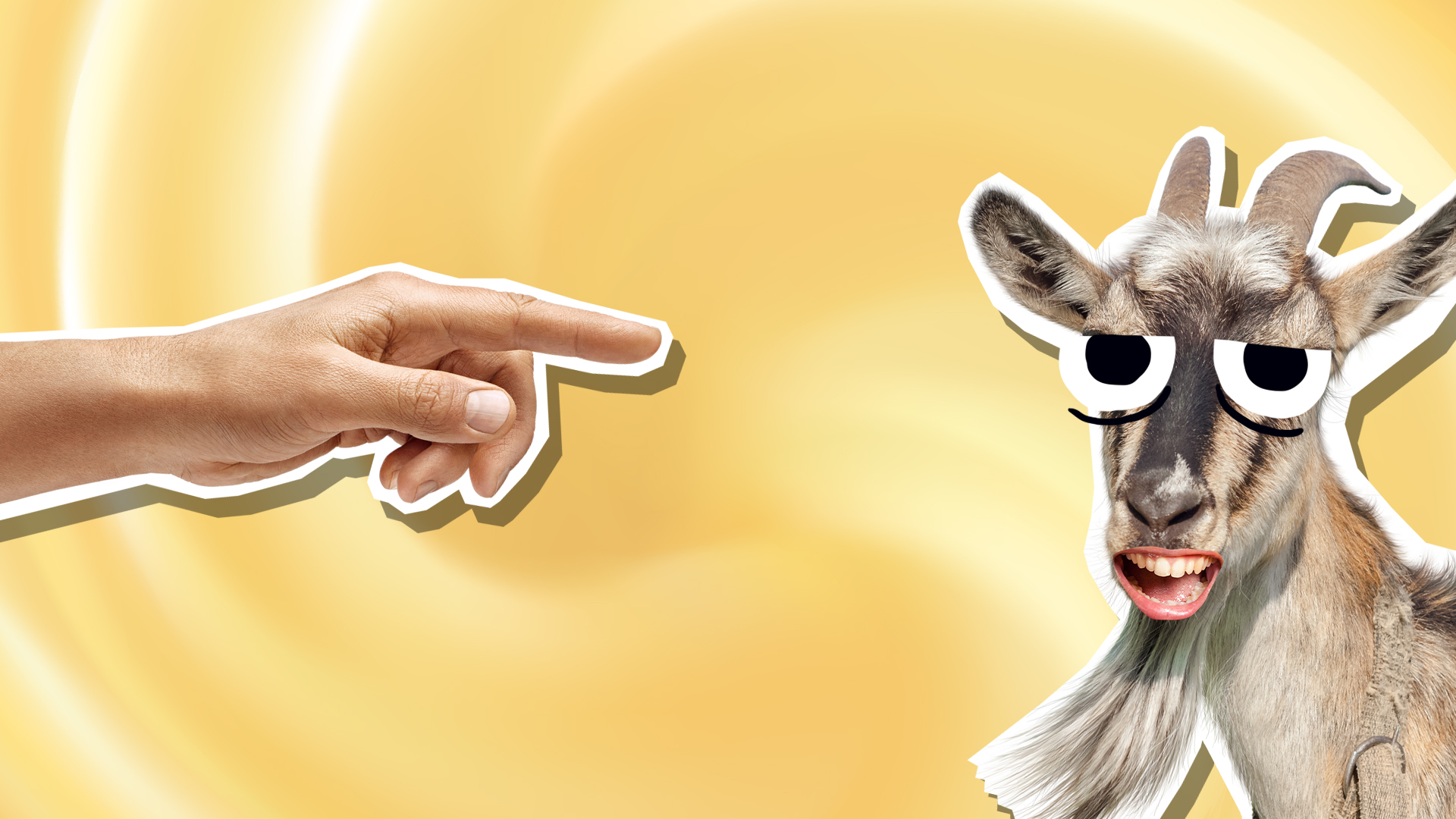 A hand pointing at a goat