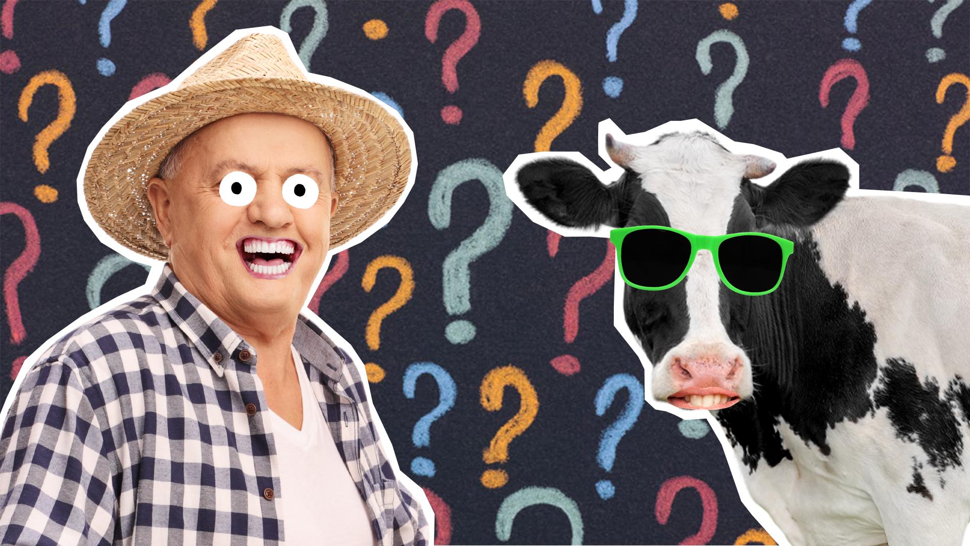 A farmer and a cow