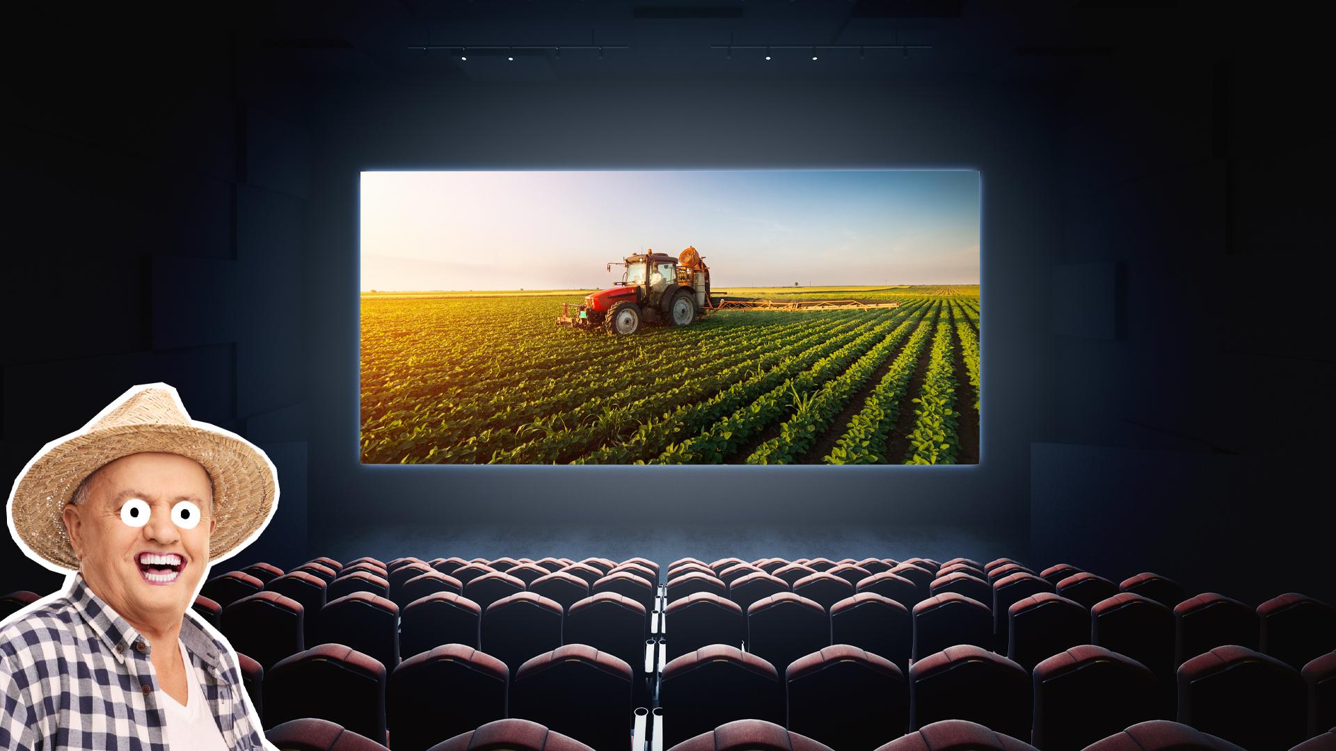 A farmer at the cinema