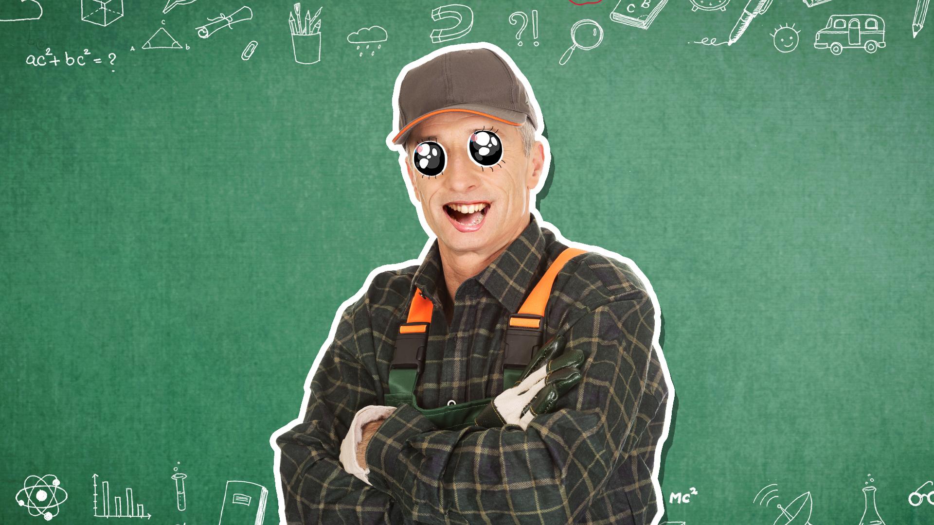 A farmer in front of a chalk board