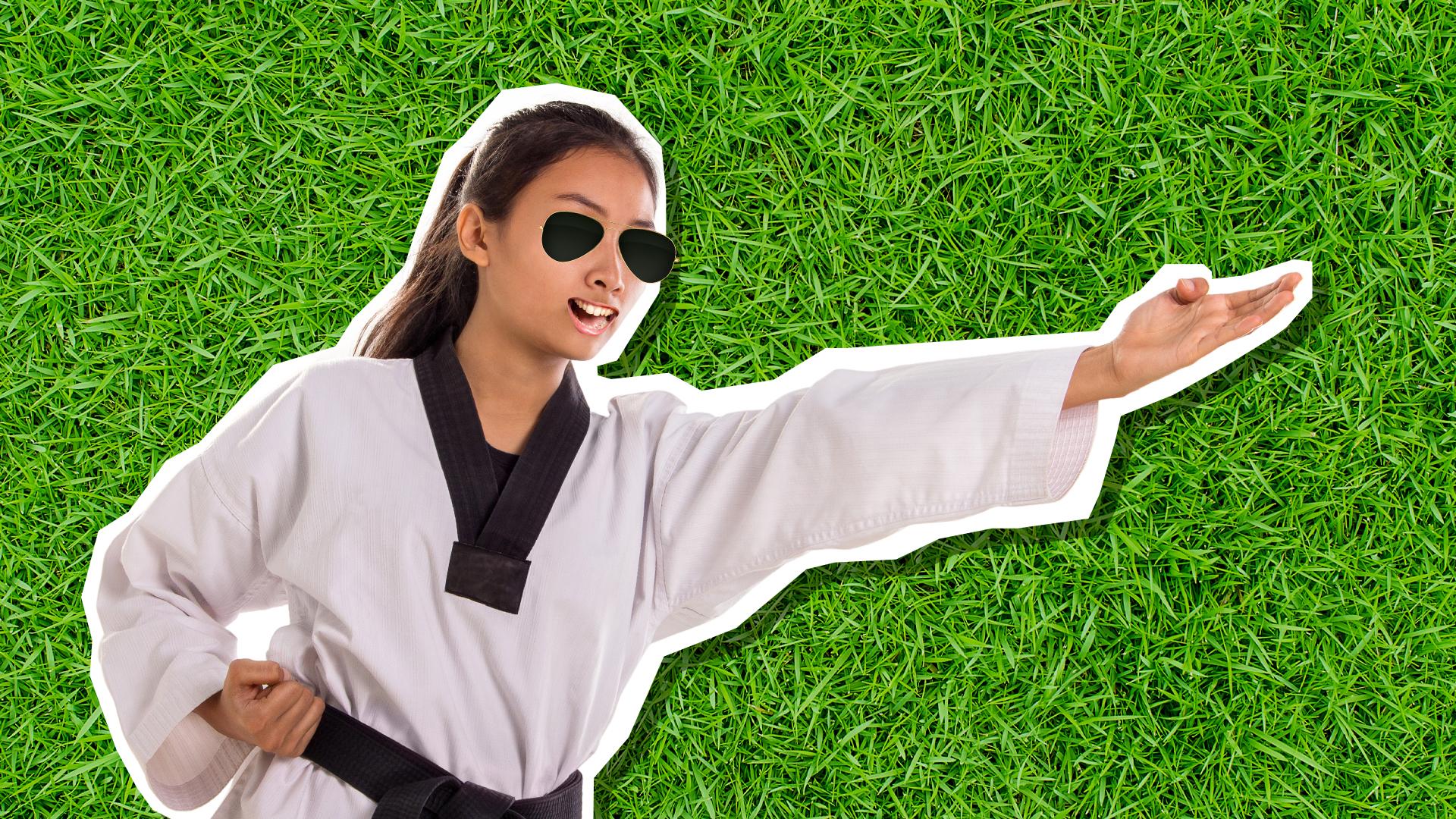 A karate expert doing a chop