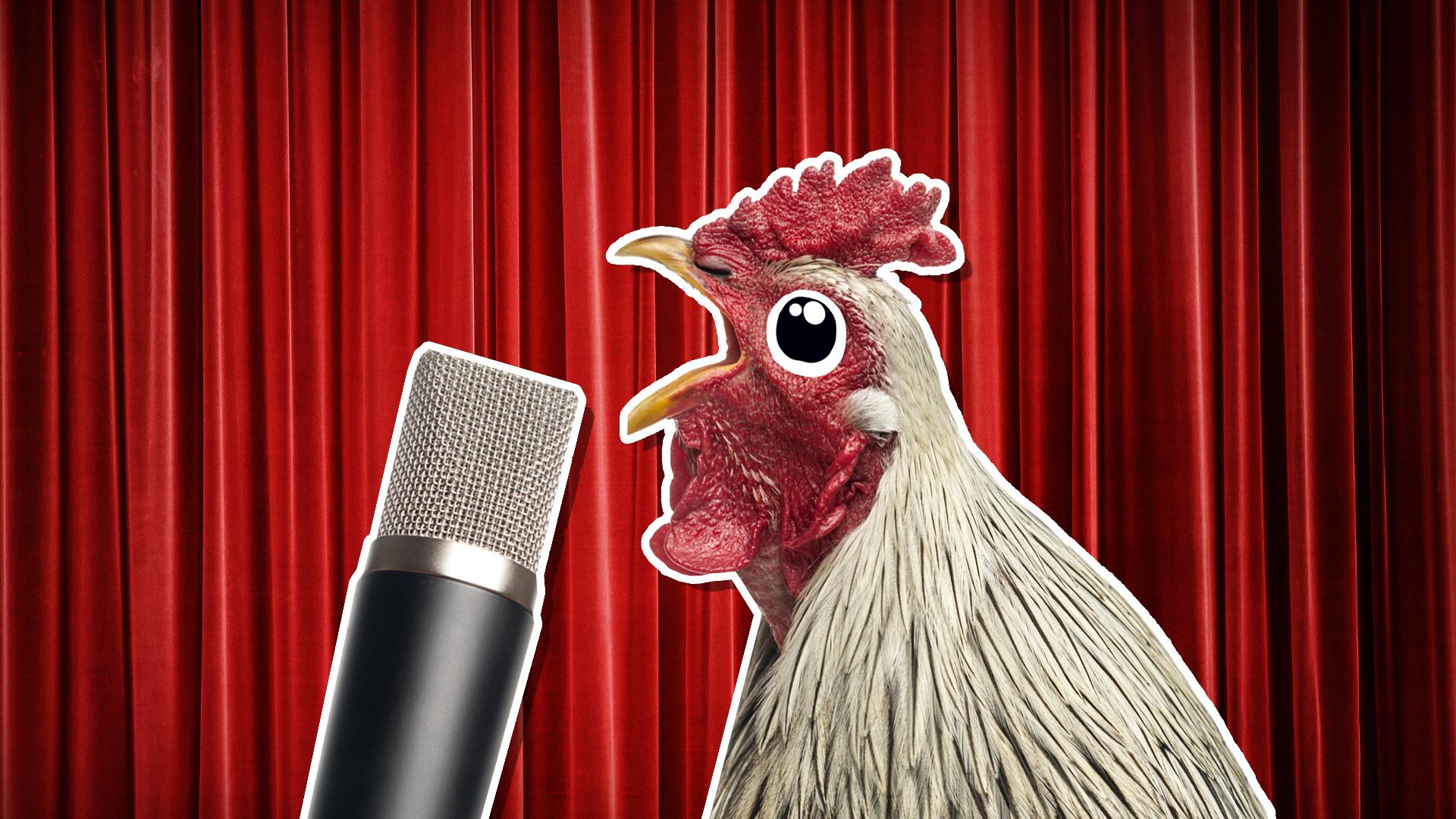 A chicken tells a joke