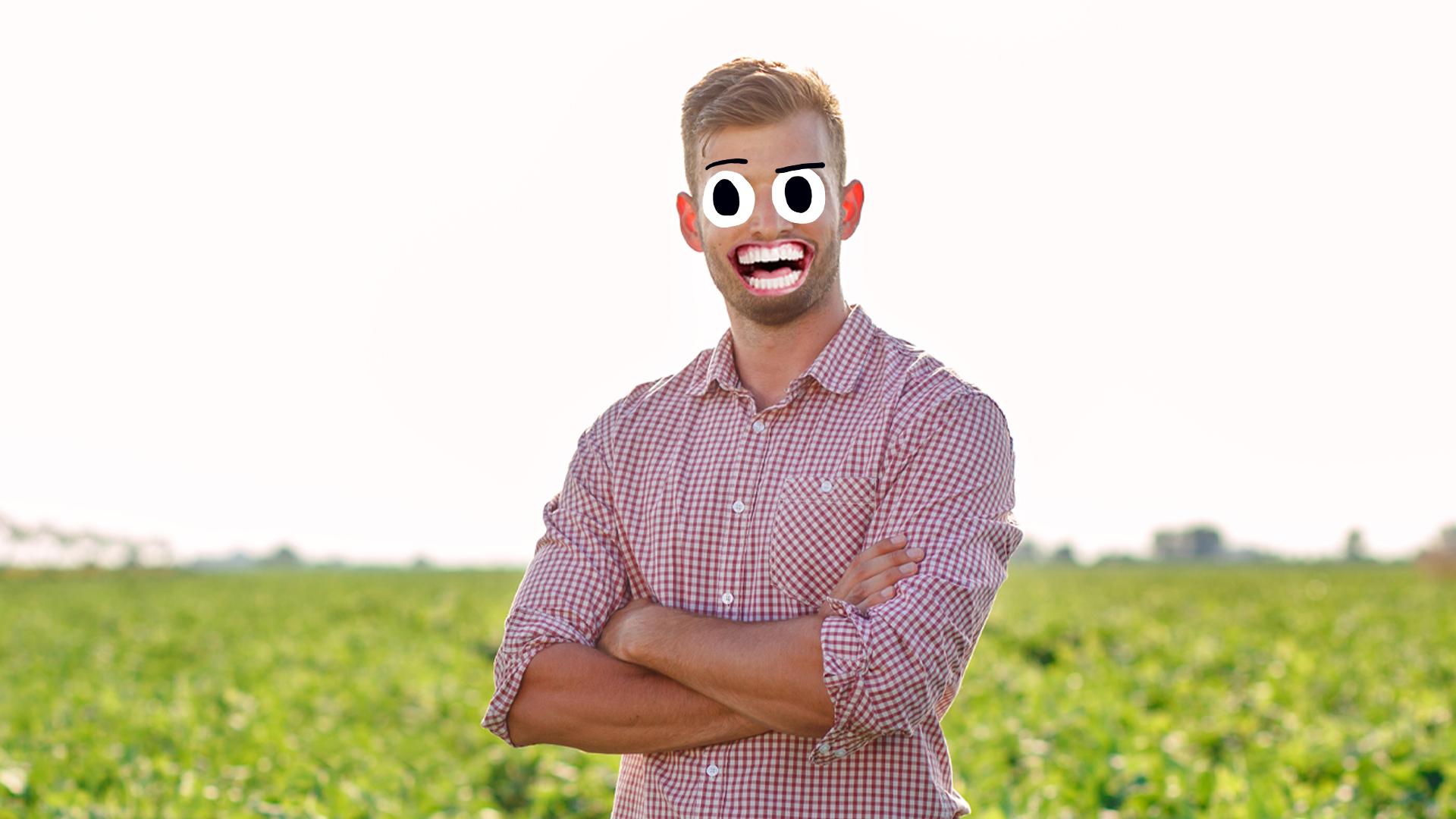 A laughing farmer