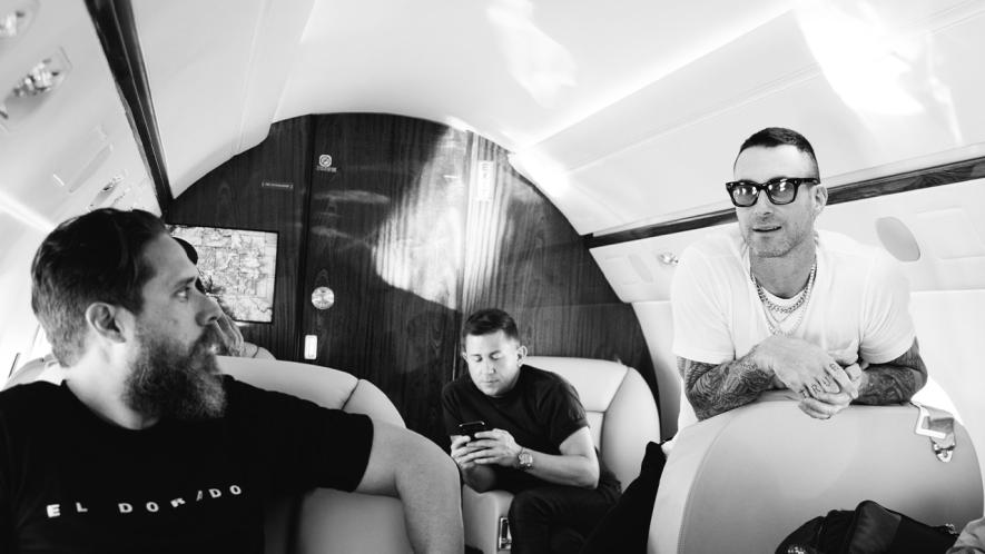 Maroon 5 on a plane