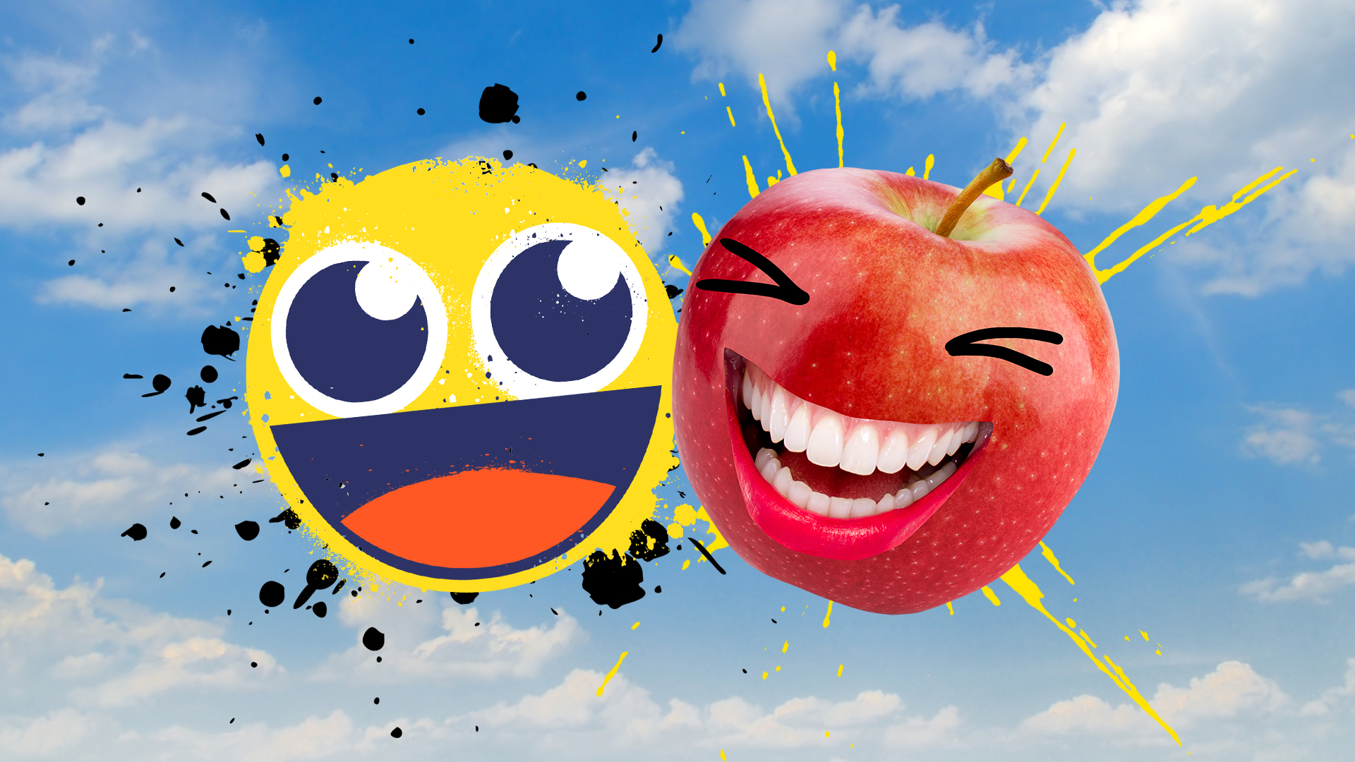 A laughing emoji and giggling red apple