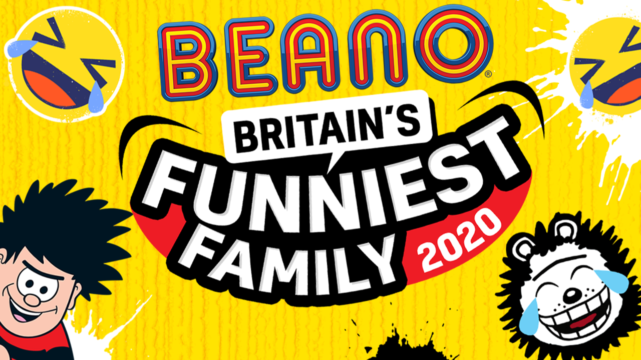 Britain's Funniest Family 2020 logo with Dennis & Gnasher